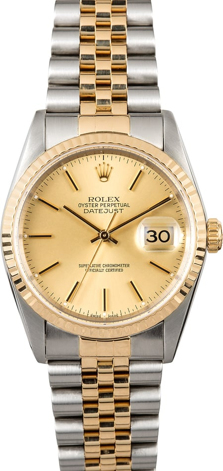 Rolex Two-Tone Datejust Watch 16233 Champagne