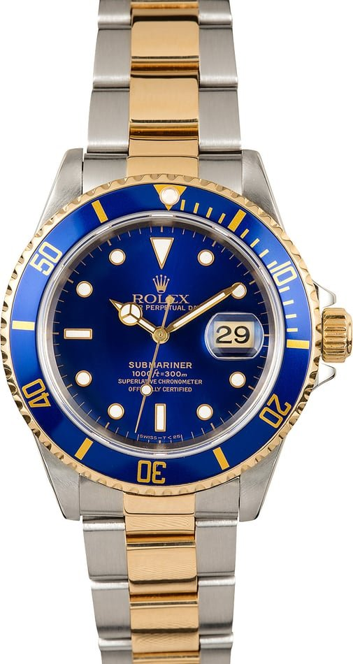 Rolex Two-Tone Submariner 16613 Blue Bezel