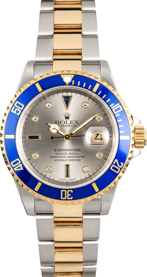 Rolex Two-Tone Submariner 16613 Serti Dial