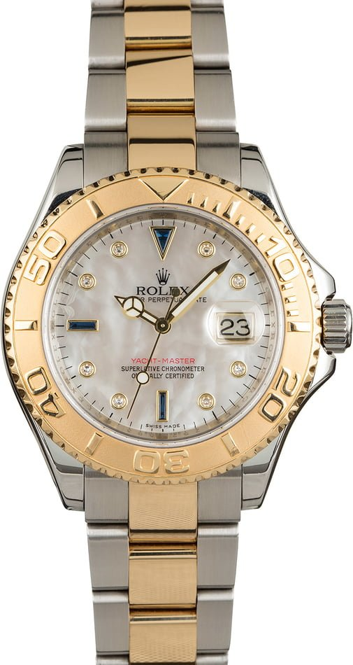 PreOwned Rolex Yacht-Master 16623 Mother of Pearl Serti Dial
