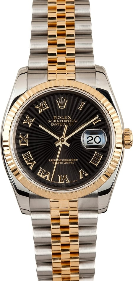 Rolex Two Tone Datejust 116233 Black Roman