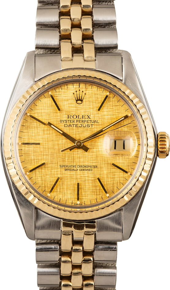 Pre Owned Rolex Datejust 16013 Champagne Linen Dial