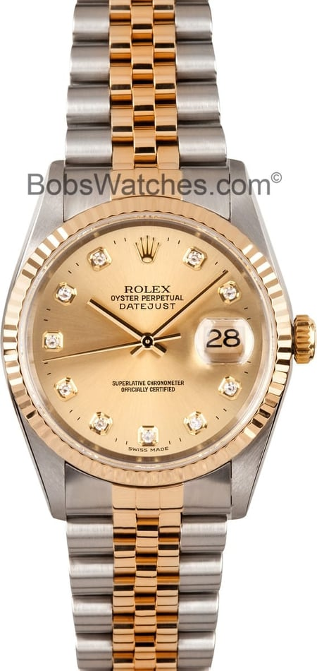Rolex Datejust Champagne Diamond 16233