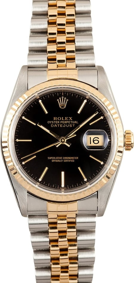 Pre Owned Rolex Men's DateJust Stainless & 18K 16233