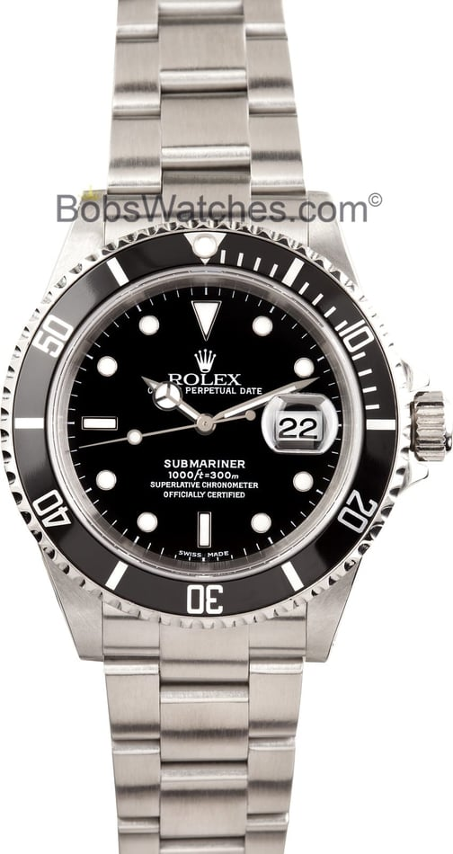Submariner Rolex Black 16610 Men's
