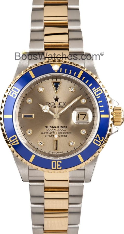 Pre-Owned Men's Rolex Submariner Two Tone Diamond Dial