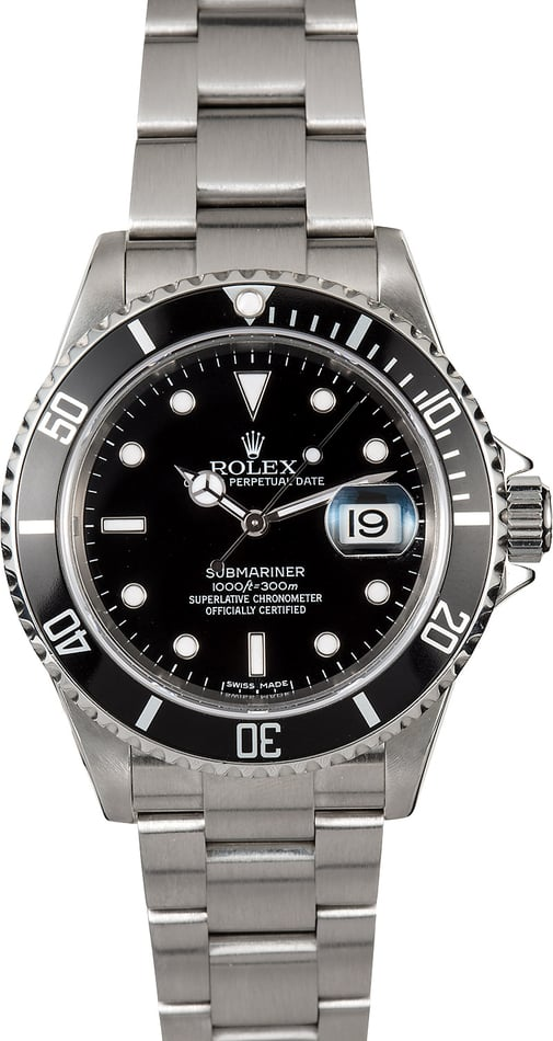 Submariner Rolex Stainless 16610 No Holes