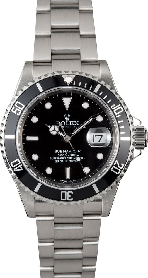 Submariner Rolex Stainless 16610 No Holes Case