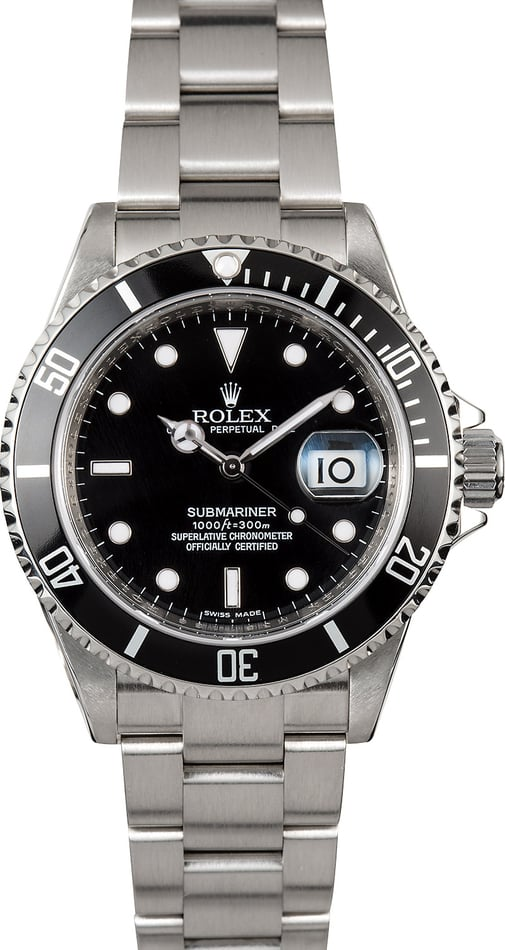 Submariner Rolex Stainless 16610 Serial Engraved