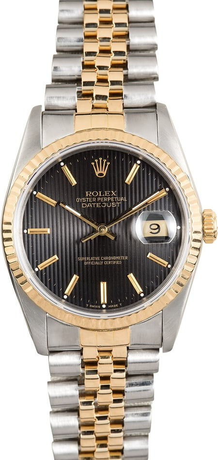 Two-Tone Rolex Datejust 16233 Black Tapestry