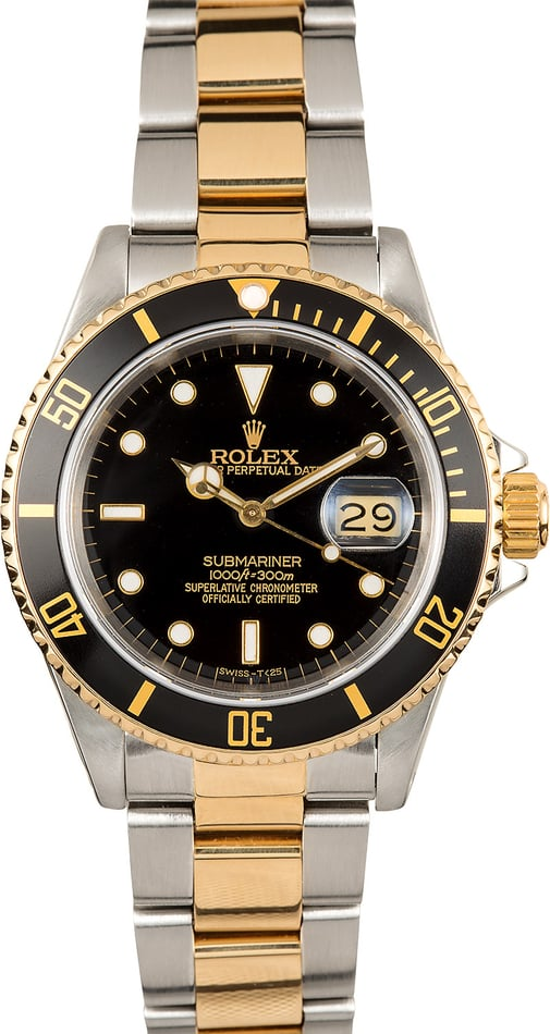 Two Tone Rolex Submariner 16613 Black Bezel