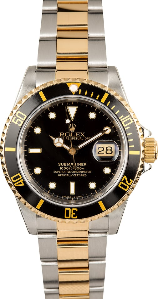 Two Tone Rolex Submariner Black 16613 Mens