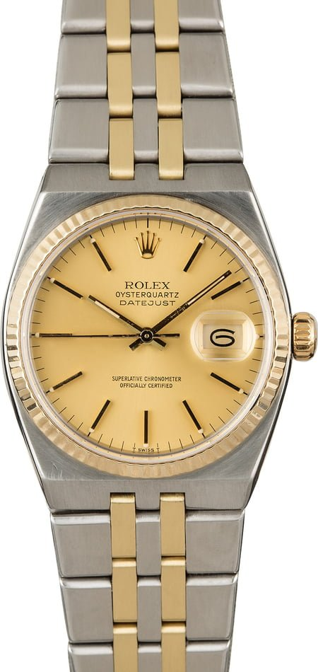 Used Rolex Oysterquartz Datejust 17013 Two Tone Integral
