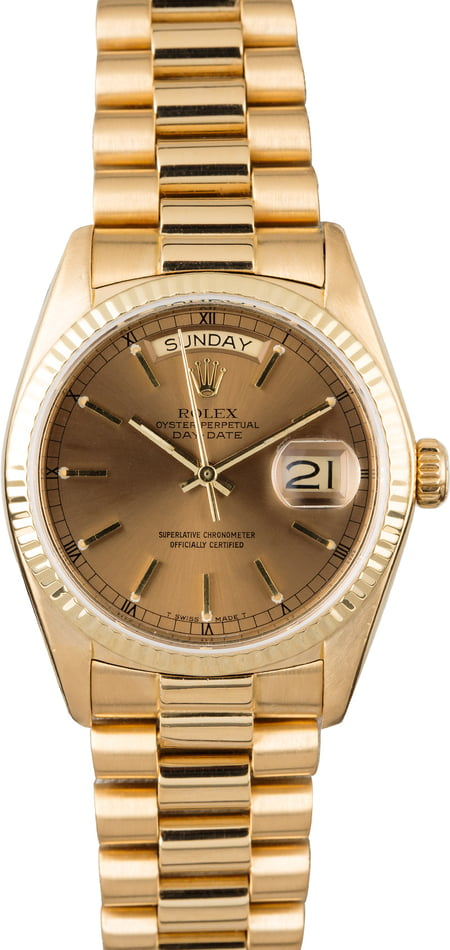 PreOwned Rolex Day-Date 18038 Bronze Dial