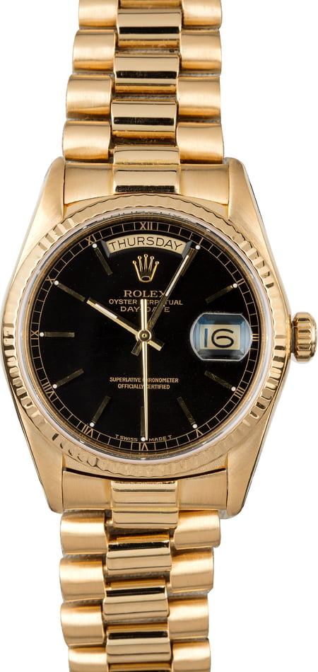 Used Rolex 18038 Day-Date Black Dial
