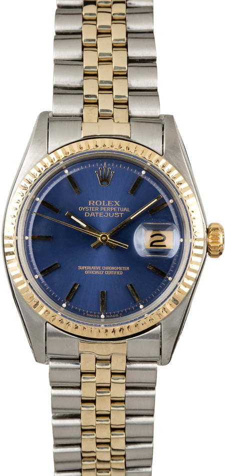 Vintage Rolex Datejust 1601 Blue Dial Two Tone
