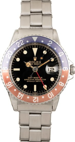"VINTAGE CIRCA 1963 ROLEX GMT MASTER 1675 GILT GLOSS ""SWISS ONLY"" DIAL PCG CASE"