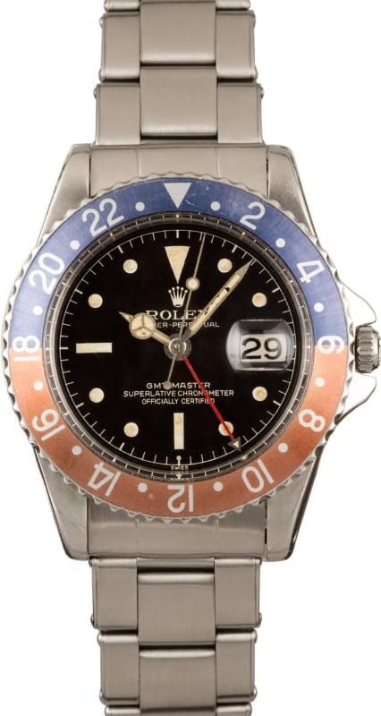 VINTAGE ROLEX GMT MASTER 1675 STAINLESS STEEL