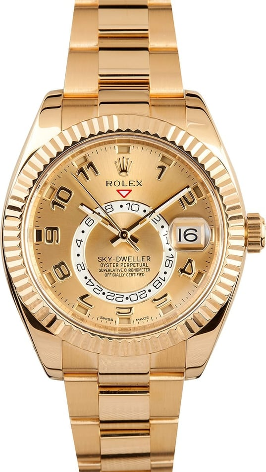 PreOwned Rolex Sky-Dweller 326938 Yellow Gold Oyster