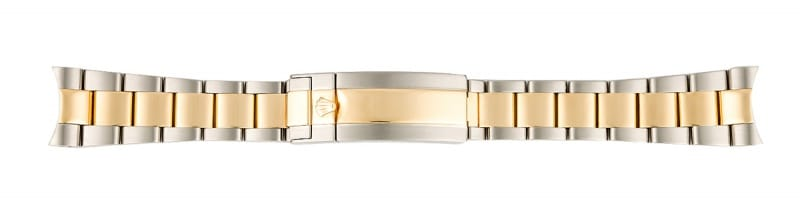 stainless steel and gold oyster bracelet