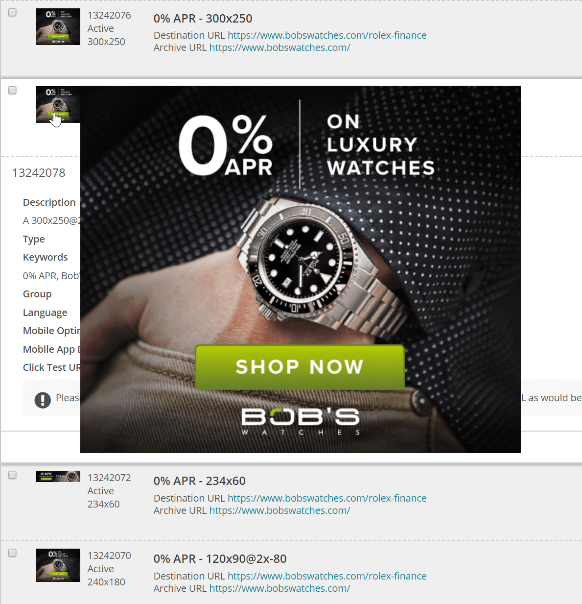 Examples of Bob's Watches affiliate banner links