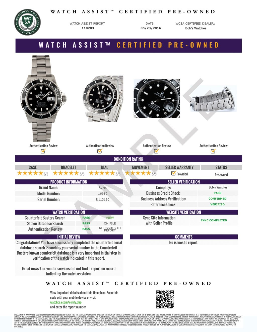 Watch Assist Certified Pre-Owned Certificate Sample Report