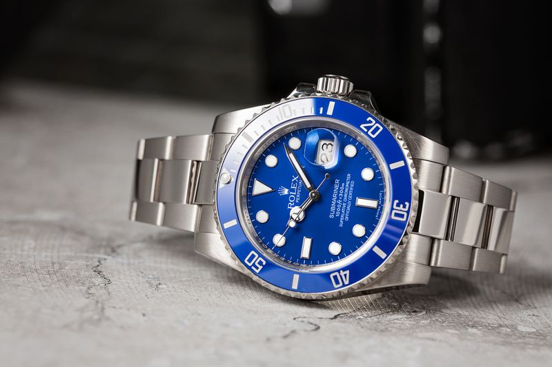 Blue Rolex Submariner Watch in White Gold