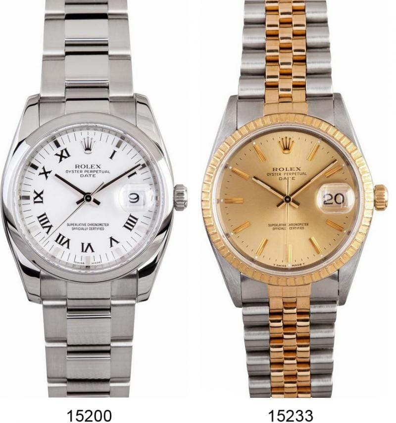 stainless steel watch and two-tone rolex