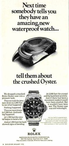 vintage Rolex crushed oyster ad