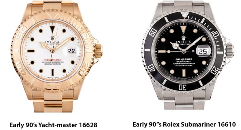 1990's yachtmaster 16628 and submariner 16610