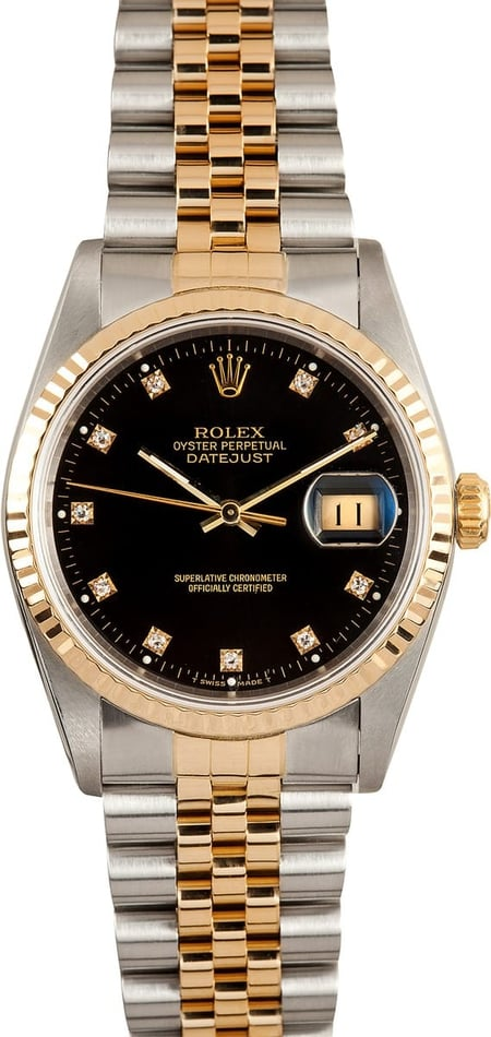 Men's Pre Owned Rolex DateJust Stainless & Gold Diamond Dial 16233