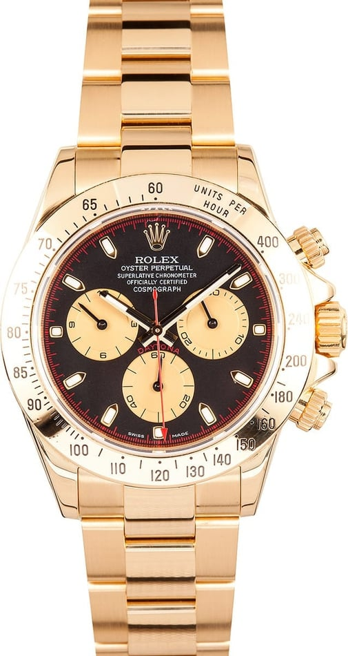 Rolex Daytona 18K Yellow Gold Black Dial 116528 Certified Pre Owned