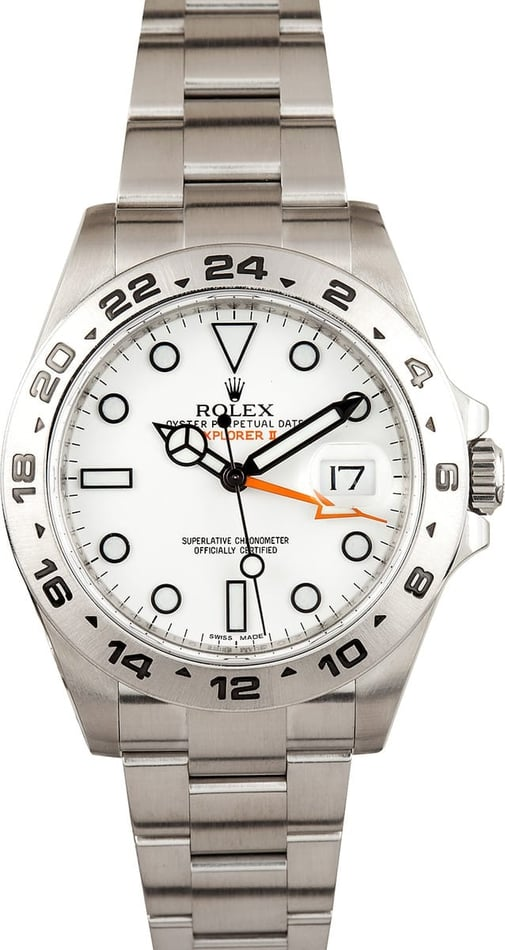 Rolex Explorer II White Automatic Steel Mens Watch 216570