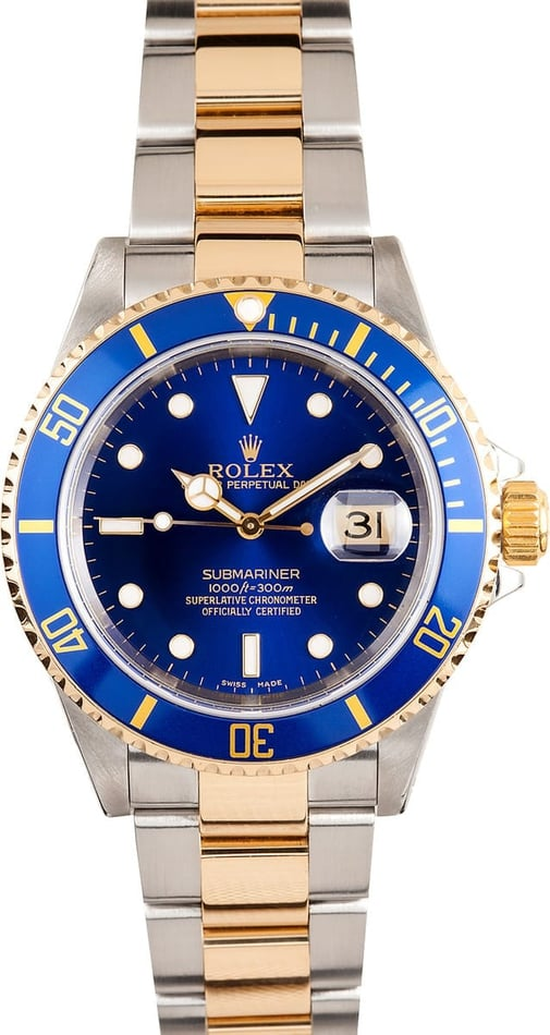 Mens Rolex Submariner Blue 16613