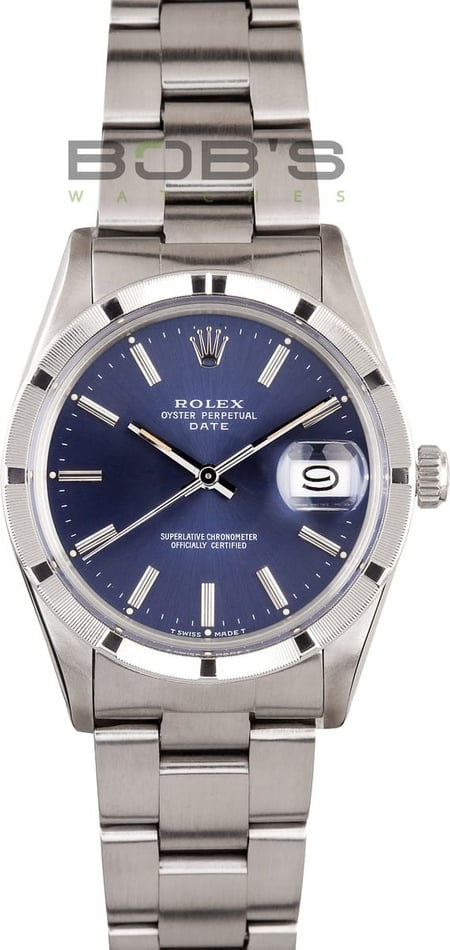 Rolex Date Stainless Steel Blue Dial 15010