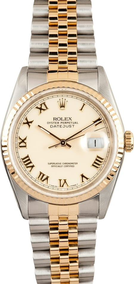 Men's Rolex Stainless and Gold DateJust Ivory Roman