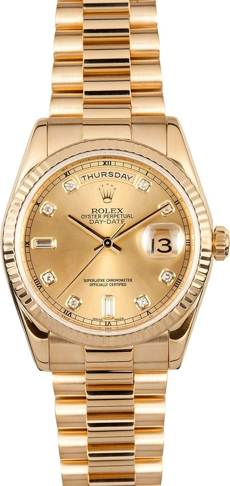 Pre Owned Diamond Rolex Day Dat 118238