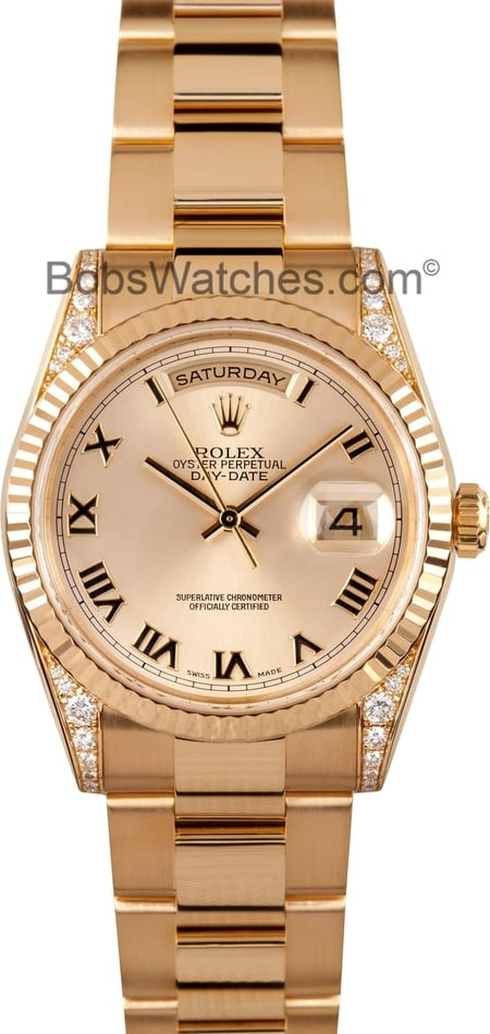 Used Rolex Mens President Day-Date Diamond Lugs