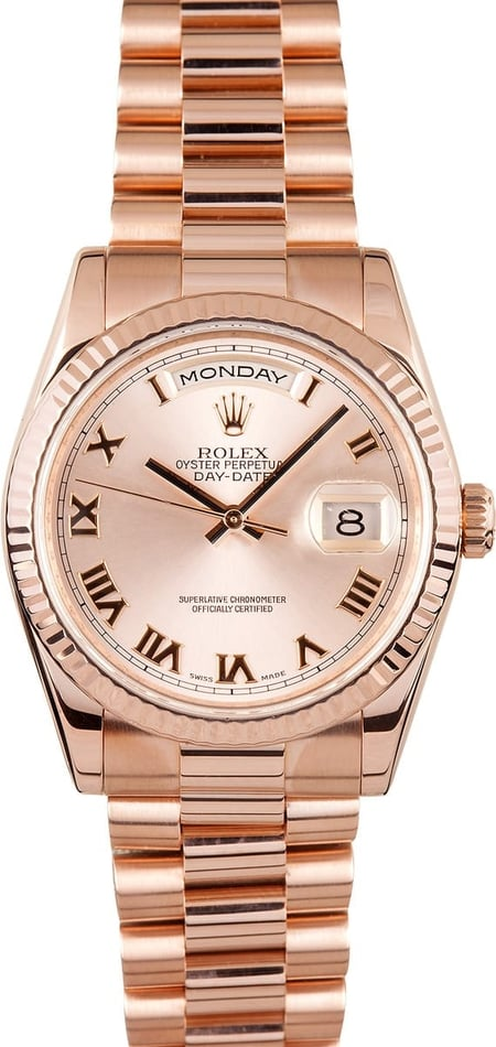 Pre-owned Mens Rolex President 18k Rose Gold 118235