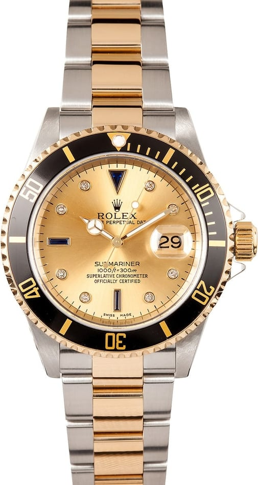 Mens Rolex Serti Submariner 16613