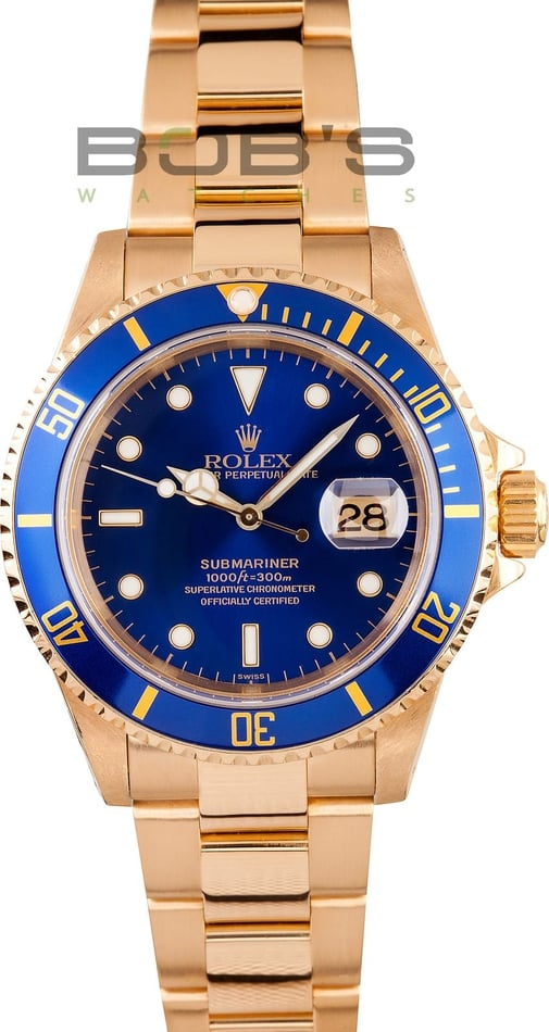 Mens Rolex 18k Yellow Gold Submariner 16618