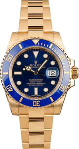 Used Rolex Yellow Gold Submariner 116618 Blue Dial