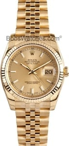Rolex Datejust White Dial Automatic 18kt Yellow Gold Watch 116238WSJ