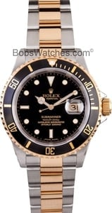 107057-2 Used Rolex Submariner Two Tone with Black Dial Model 16613