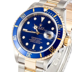 Rolex Submariner Two Tone Blue Model 16613