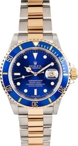 Mens Two Tone Submariner Serial Engraved 16613