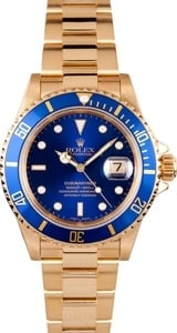 Rolex 18k Yellow Gold Submariner 16618