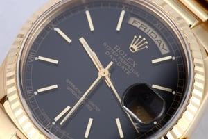 Rolex President Gold Day Date 18238 Black Index