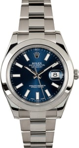 Rolex 41MM Datejust 116300 Blue Index Dial