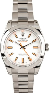 Unworn Rolex Milgauss 116400 White Dial with Orange Markers